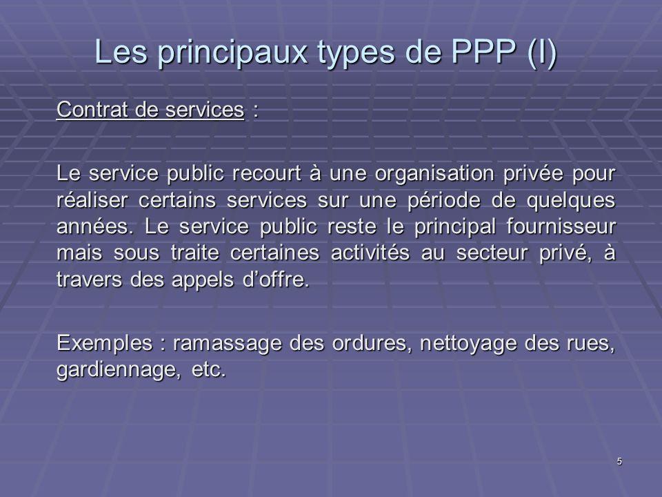 5 Les principaux types de PPP (I) Contrat de services : Le service public recourt à une organisation privée pour réaliser certains services sur une période de quelques années.
