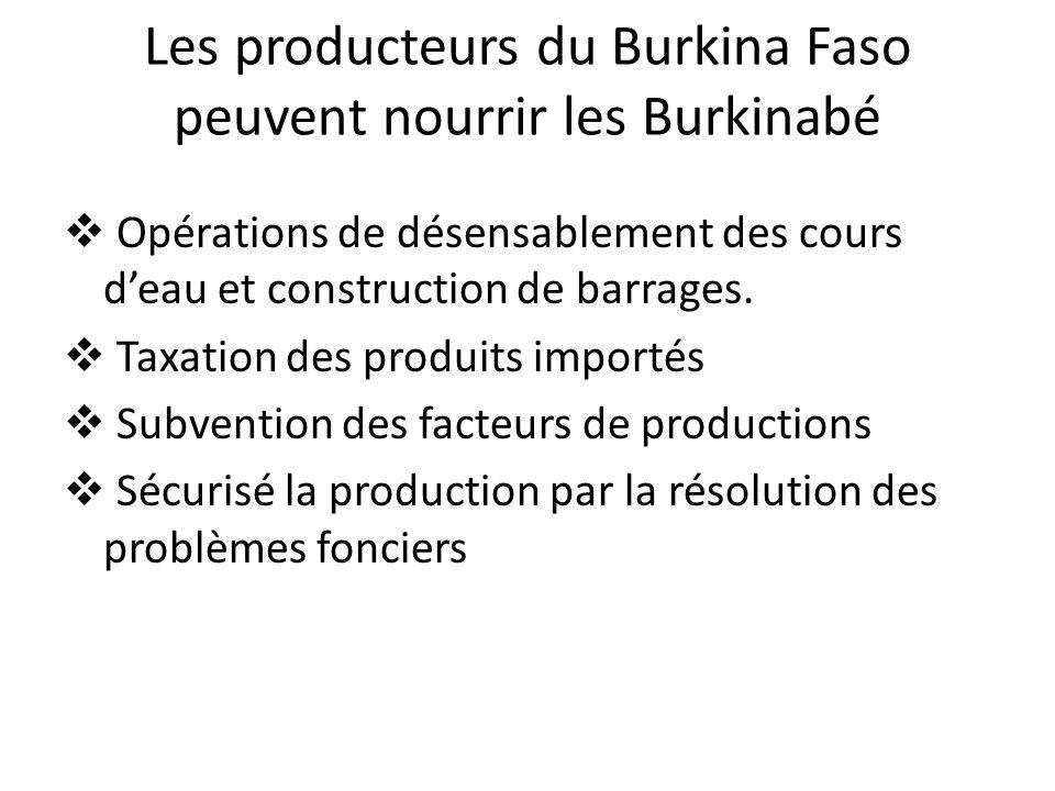 Les producteurs du Burkina Faso peuvent nourrir les Burkinabé Opérations de désensablement des cours deau et construction de barrages. Taxation des pr