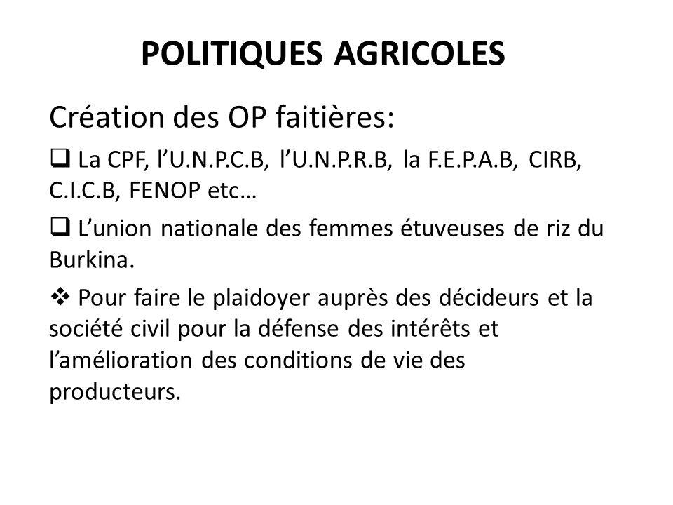 POLITIQUES AGRICOLES Création des OP faitières: La CPF, lU.N.P.C.B, lU.N.P.R.B, la F.E.P.A.B, CIRB, C.I.C.B, FENOP etc… Lunion nationale des femmes ét