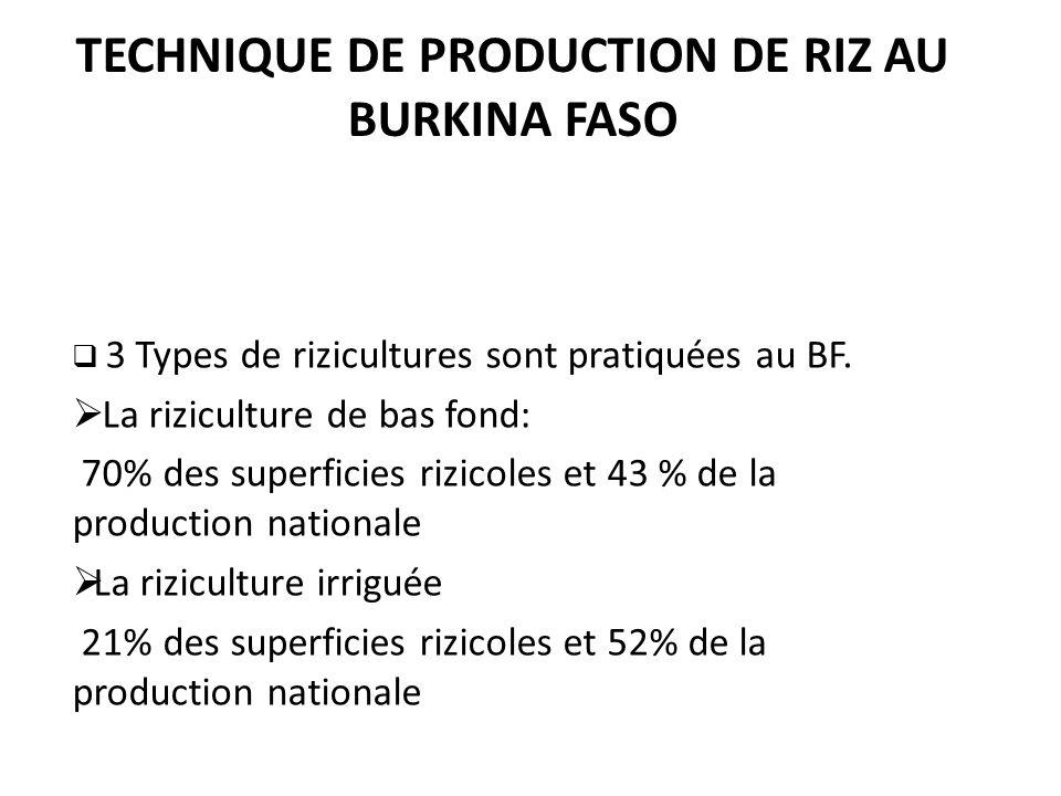 TECHNIQUE DE PRODUCTION DE RIZ AU BURKINA FASO 3 Types de rizicultures sont pratiquées au BF. La riziculture de bas fond: 70% des superficies rizicole