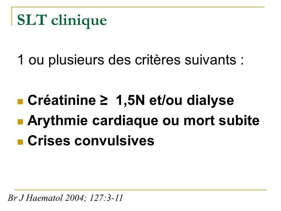 SLT clinique 1 ou plusieurs des critères suivants : Créatinine 1,5N et/ou dialyse Arythmie cardiaque ou mort subite Crises convulsives Br J Haematol 2