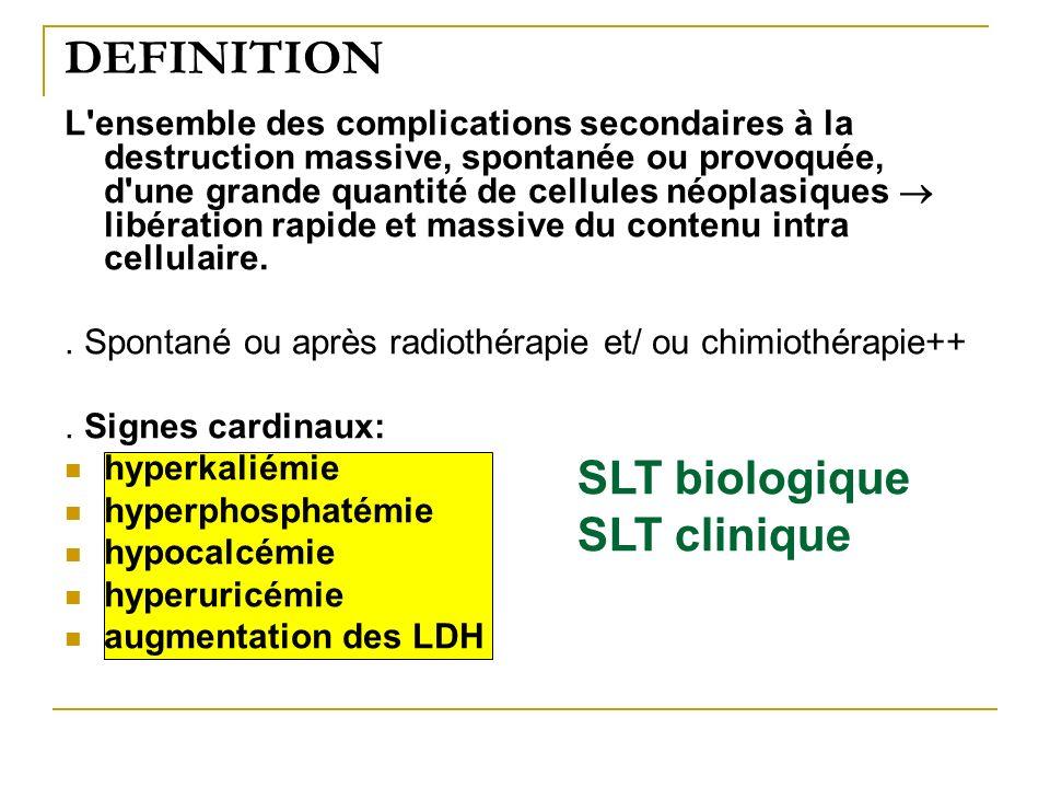 DEFINITION L'ensemble des complications secondaires à la destruction massive, spontanée ou provoquée, d'une grande quantité de cellules néoplasiques l
