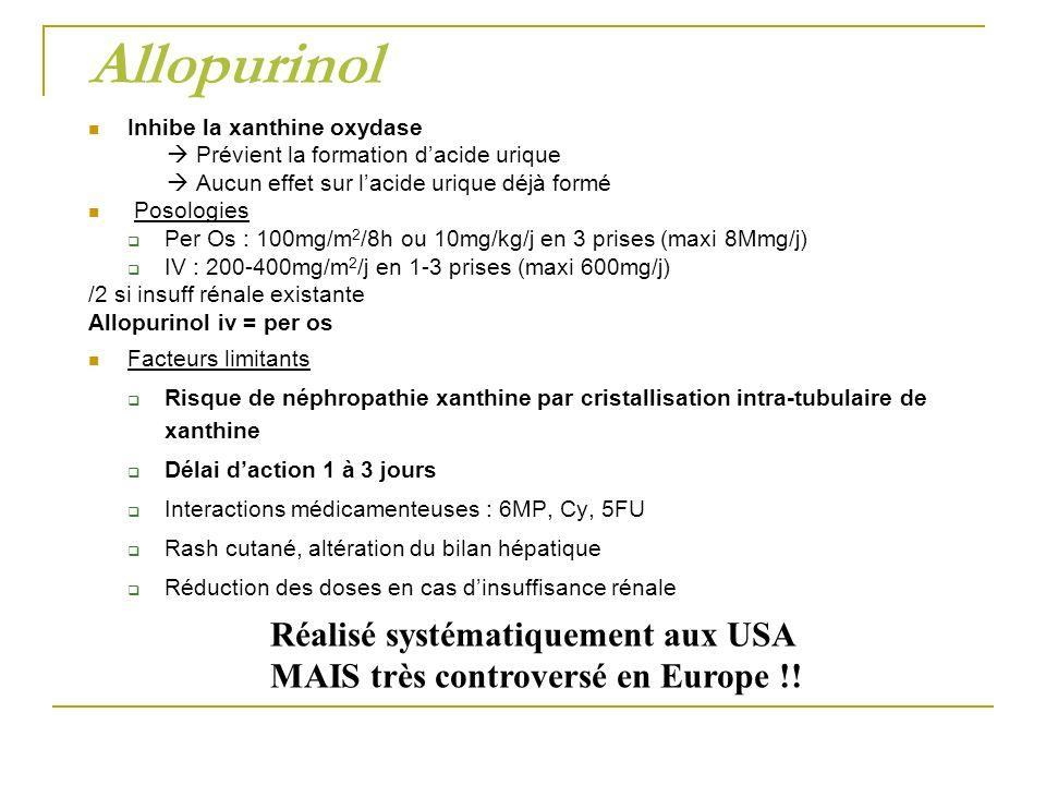 Allopurinol Inhibe la xanthine oxydase Prévient la formation dacide urique Aucun effet sur lacide urique déjà formé Posologies Per Os : 100mg/m 2 /8h