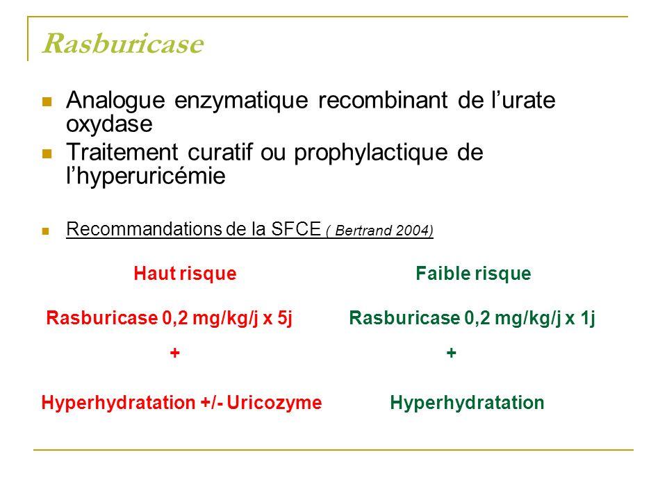Rasburicase Analogue enzymatique recombinant de lurate oxydase Traitement curatif ou prophylactique de lhyperuricémie Recommandations de la SFCE ( Ber