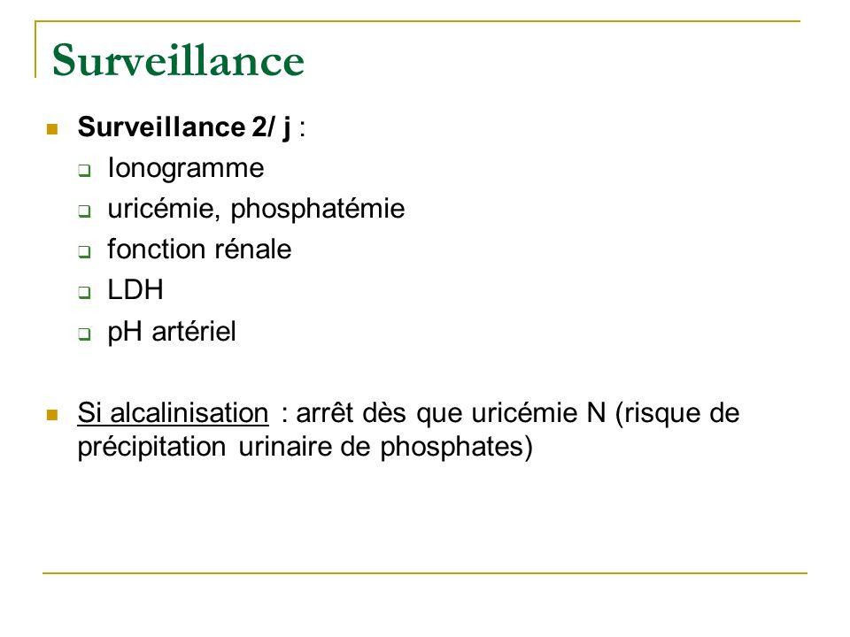 Surveillance Surveillance 2/ j : Ionogramme uricémie, phosphatémie fonction rénale LDH pH artériel Si alcalinisation : arrêt dès que uricémie N (risqu