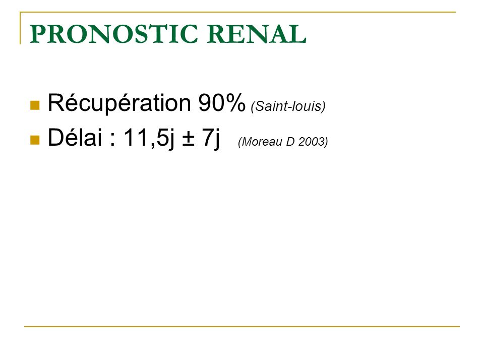 PRONOSTIC RENAL Récupération 90% (Saint-louis) Délai : 11,5j ± 7j (Moreau D 2003)