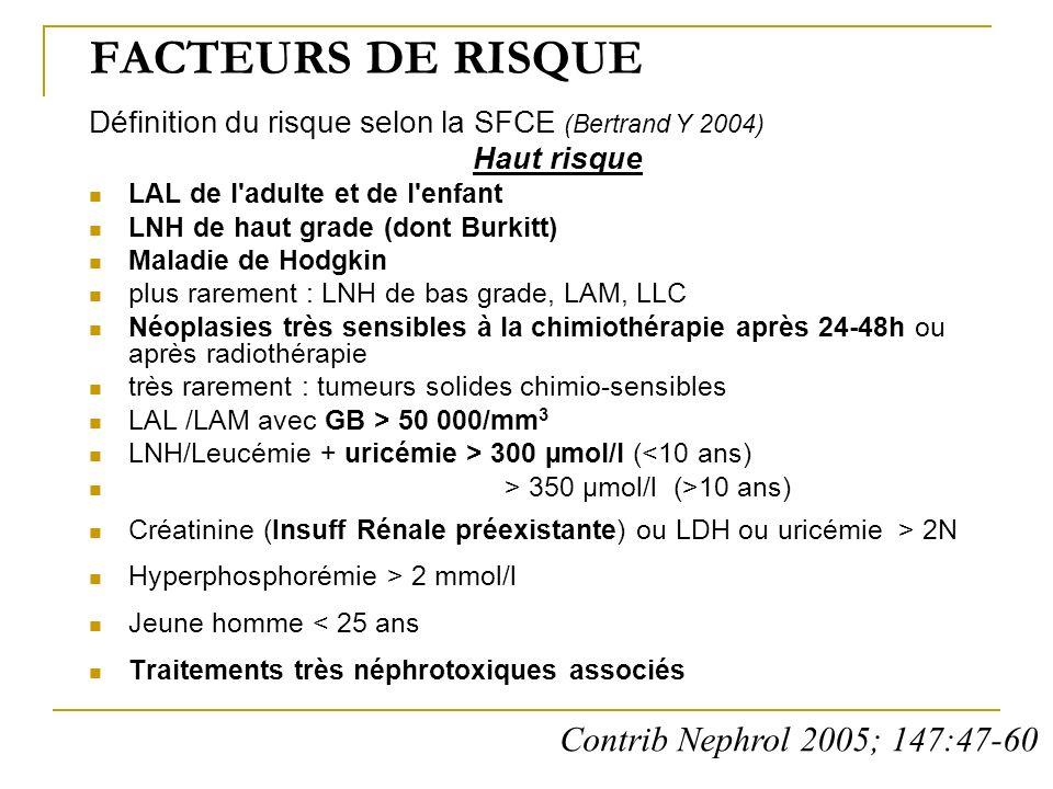 FACTEURS DE RISQUE Définition du risque selon la SFCE (Bertrand Y 2004) Haut risque LAL de l'adulte et de l'enfant LNH de haut grade (dont Burkitt) Ma
