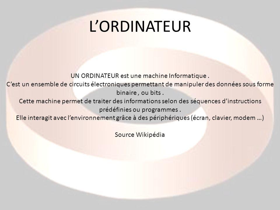 LORDINATEUR UN ORDINATEUR est une machine Informatique. Cest un ensemble de circuits électroniques permettant de manipuler des données sous forme bina