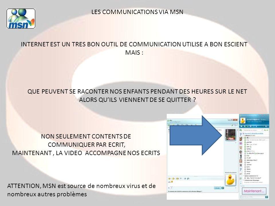 LES COMMUNICATIONS VIA MSN INTERNET EST UN TRES BON OUTIL DE COMMUNICATION UTILISE A BON ESCIENT MAIS : QUE PEUVENT SE RACONTER NOS ENFANTS PENDANT DE