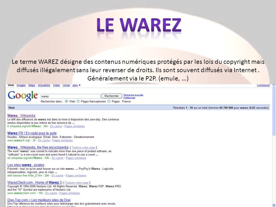 Le terme WAREZ désigne des contenus numériques protégés par les lois du copyright mais diffusés illégalement sans leur reverser de droits. Ils sont so
