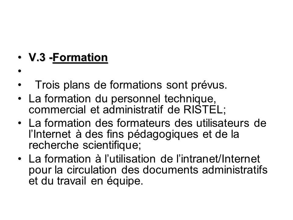 V.3 -FormationV.3 -Formation Trois plans de formations sont prévus.