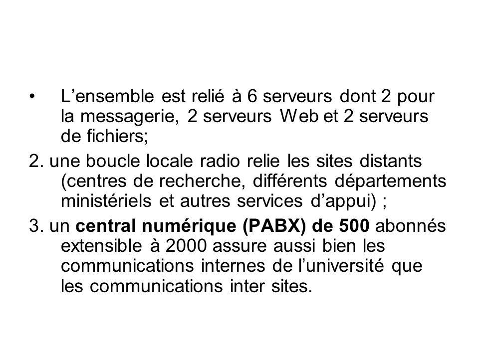 Le réseau du système éducatif est relié au réseau de lopérateur historique du pays appelé Sotelgui (Société de télécommunications de Guinée ) par un faisceau Motorola (Canopy) de 45Mbps sur la base dun accord bilatéral signé entre les deux parties.