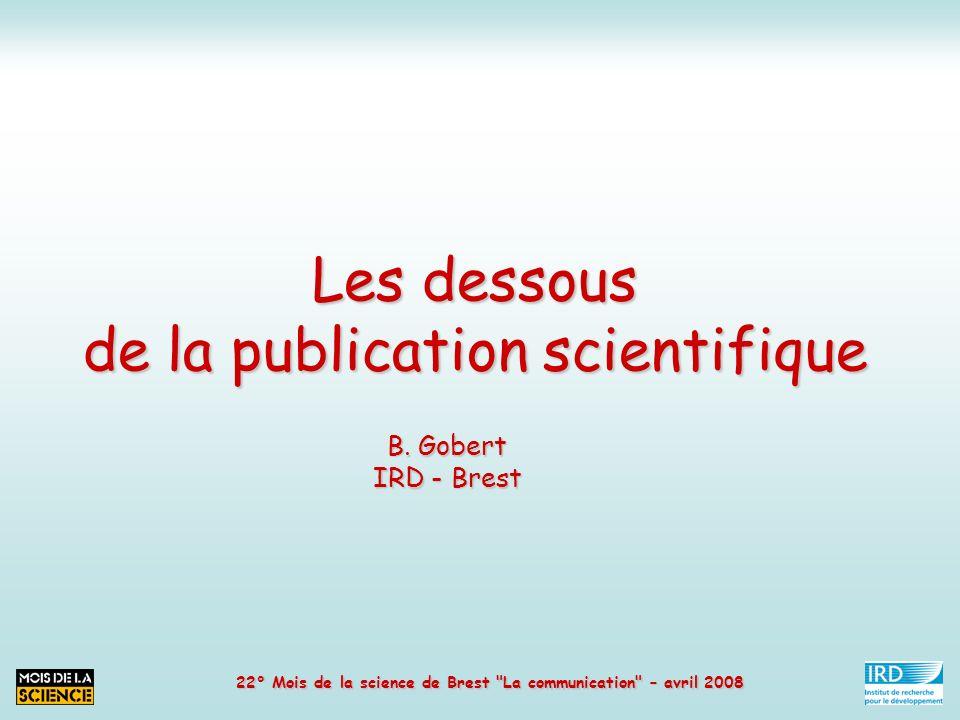 Les dessous de la publication scientifique 3.