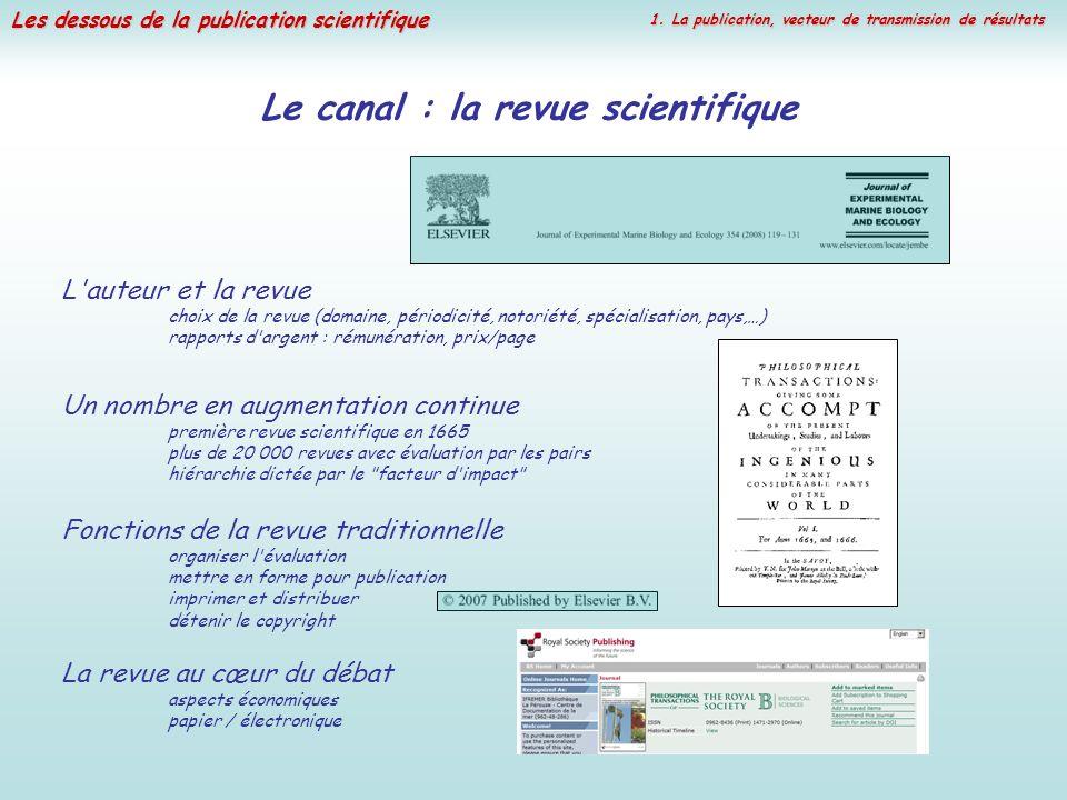 Les dessous de la publication scientifique Le canal : la revue scientifique Un nombre en augmentation continue première revue scientifique en 1665 plu