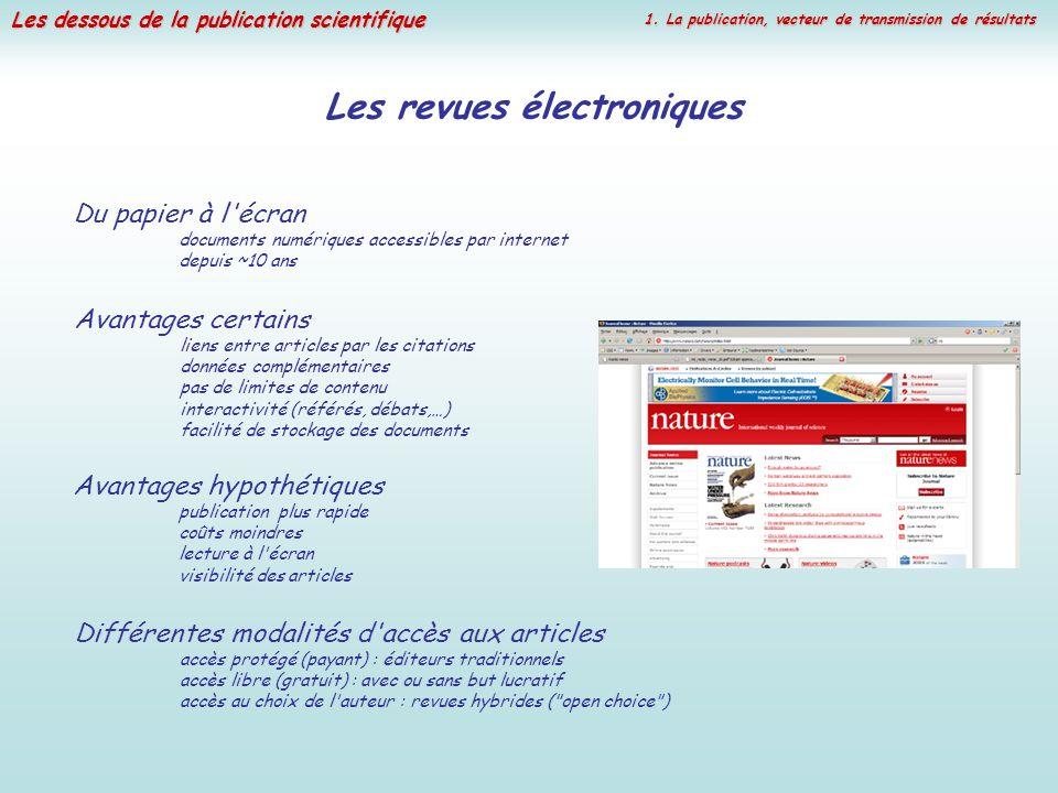 Les dessous de la publication scientifique Les revues électroniques Avantages hypothétiques publication plus rapide coûts moindres lecture à l'écran v
