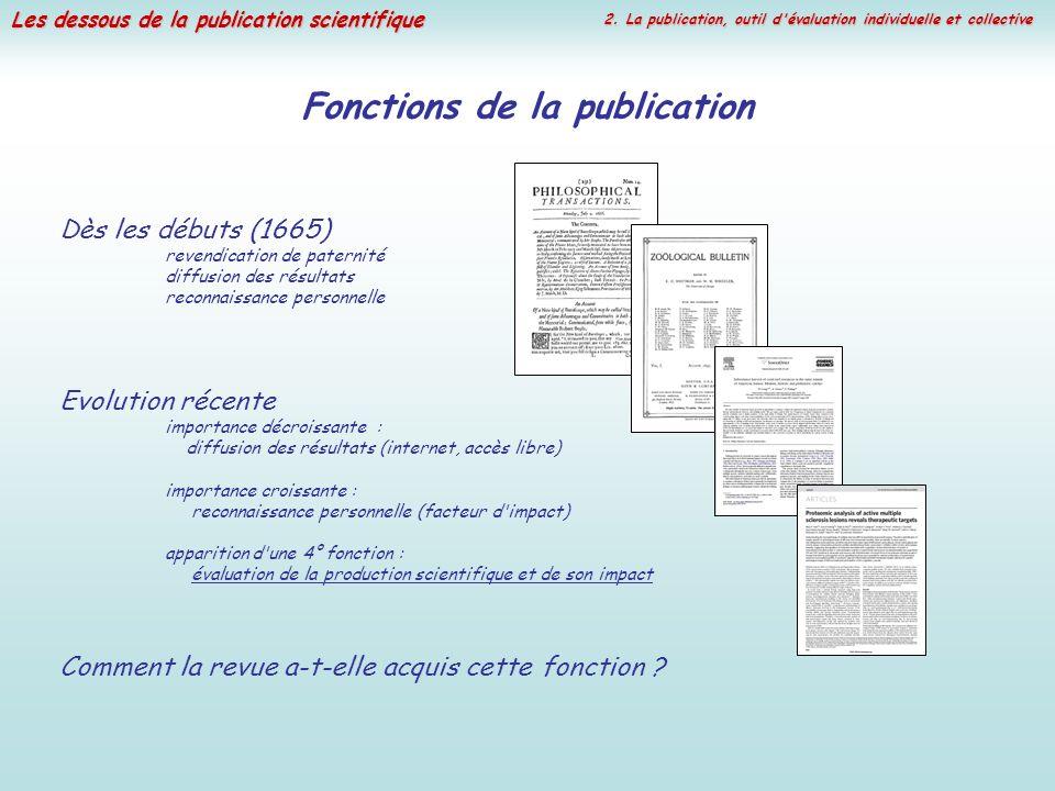 Les dessous de la publication scientifique 2. La publication, outil d'évaluation individuelle et collective Fonctions de la publication Dès les débuts