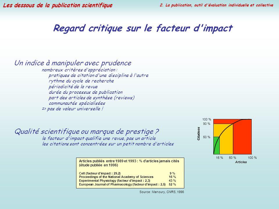 Les dessous de la publication scientifique Regard critique sur le facteur d'impact Un indice à manipuler avec prudence nombreux critères d'appréciatio