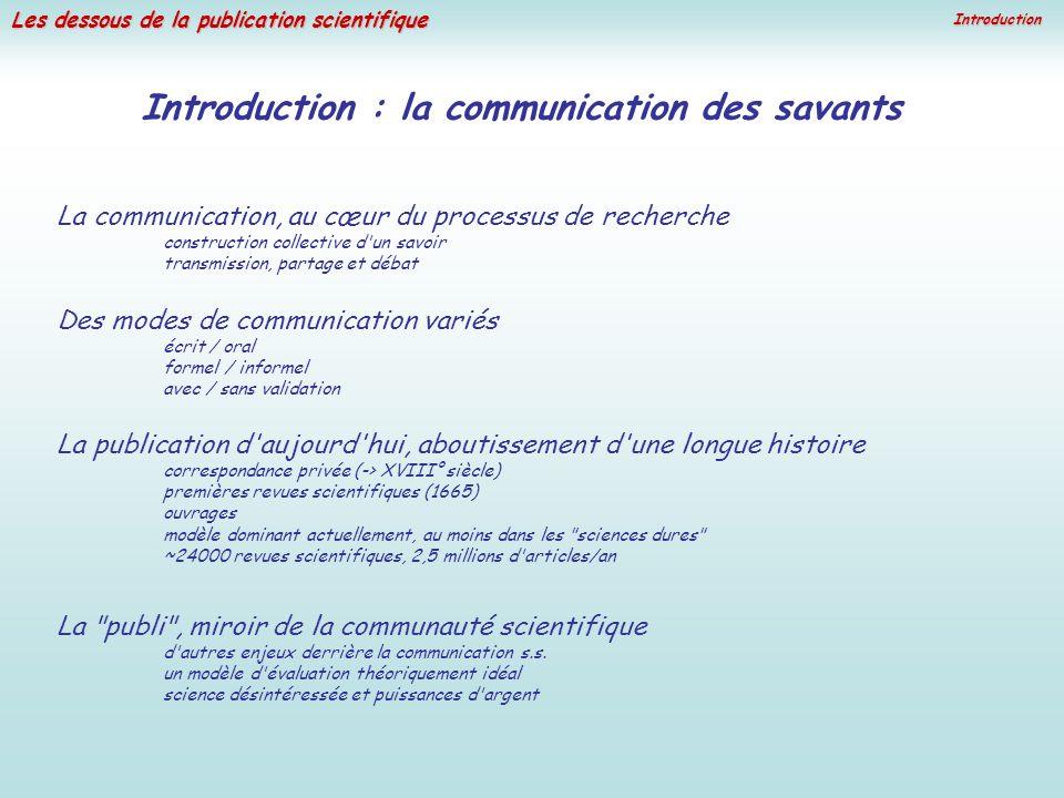 Les dessous de la publication scientifique Introduction Des modes de communication variés écrit / oral formel / informel avec / sans validation La pub