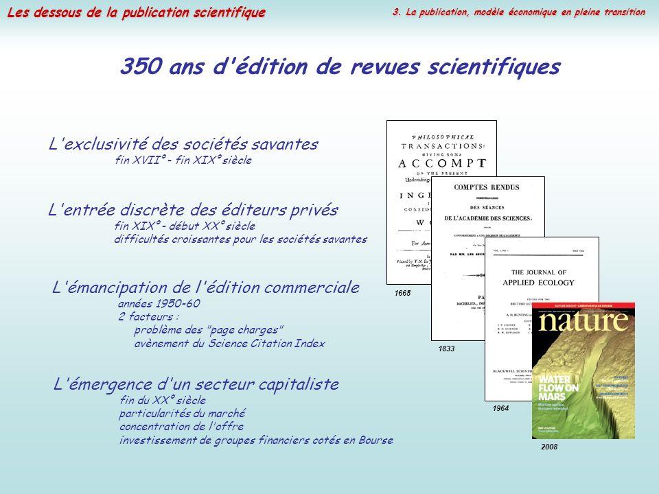 Les dessous de la publication scientifique 350 ans d'édition de revues scientifiques L'exclusivité des sociétés savantes fin XVII° - fin XIX° siècle L