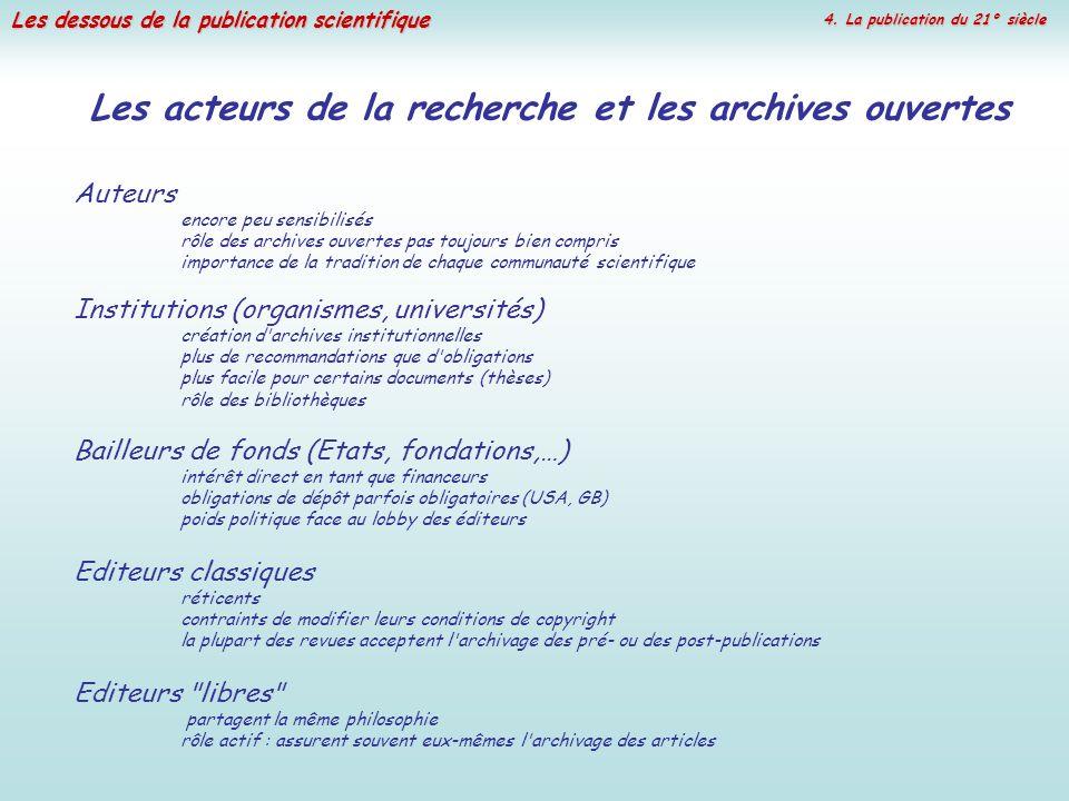 Les dessous de la publication scientifique Les acteurs de la recherche et les archives ouvertes Auteurs encore peu sensibilisés rôle des archives ouve