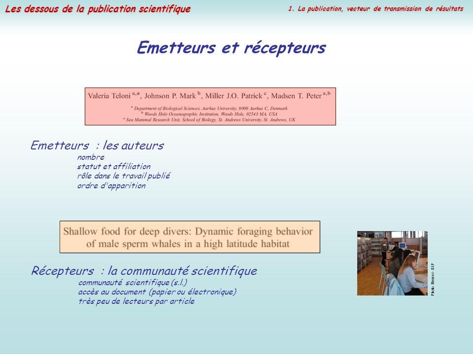 Les dessous de la publication scientifique Emetteurs et récepteurs Emetteurs : les auteurs nombre statut et affiliation rôle dans le travail publié or