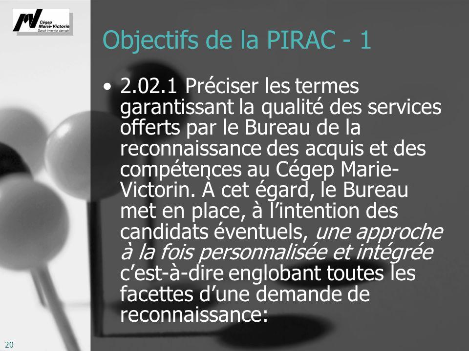 20 Objectifs de la PIRAC - 1 2.02.1 Préciser les termes garantissant la qualité des services offerts par le Bureau de la reconnaissance des acquis et des compétences au Cégep Marie- Victorin.