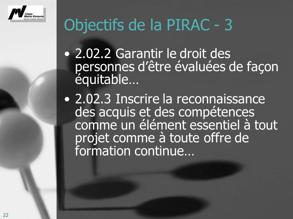 22 Objectifs de la PIRAC - 3 2.02.2 Garantir le droit des personnes dêtre évaluées de façon équitable… 2.02.3 Inscrire la reconnaissance des acquis et des compétences comme un élément essentiel à tout projet comme à toute offre de formation continue…