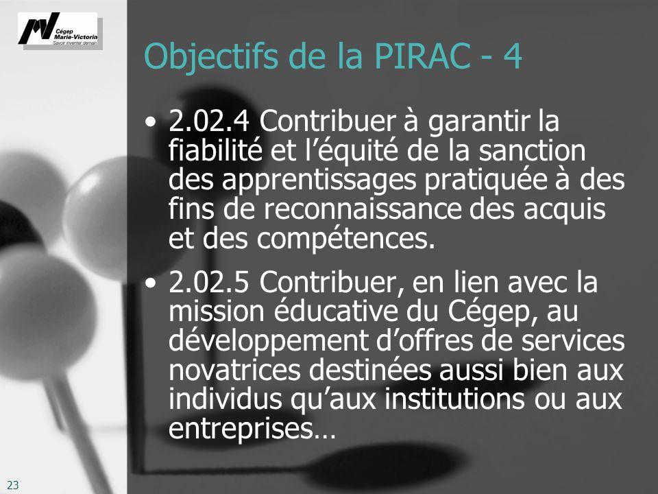 23 Objectifs de la PIRAC - 4 2.02.4 Contribuer à garantir la fiabilité et léquité de la sanction des apprentissages pratiquée à des fins de reconnaissance des acquis et des compétences.