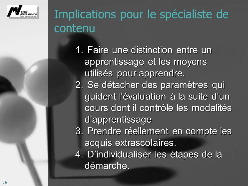 26 Implications pour le spécialiste de contenu 1. Faire une distinction entre un apprentissage et les moyens utilisés pour apprendre. 2. Se détacher d