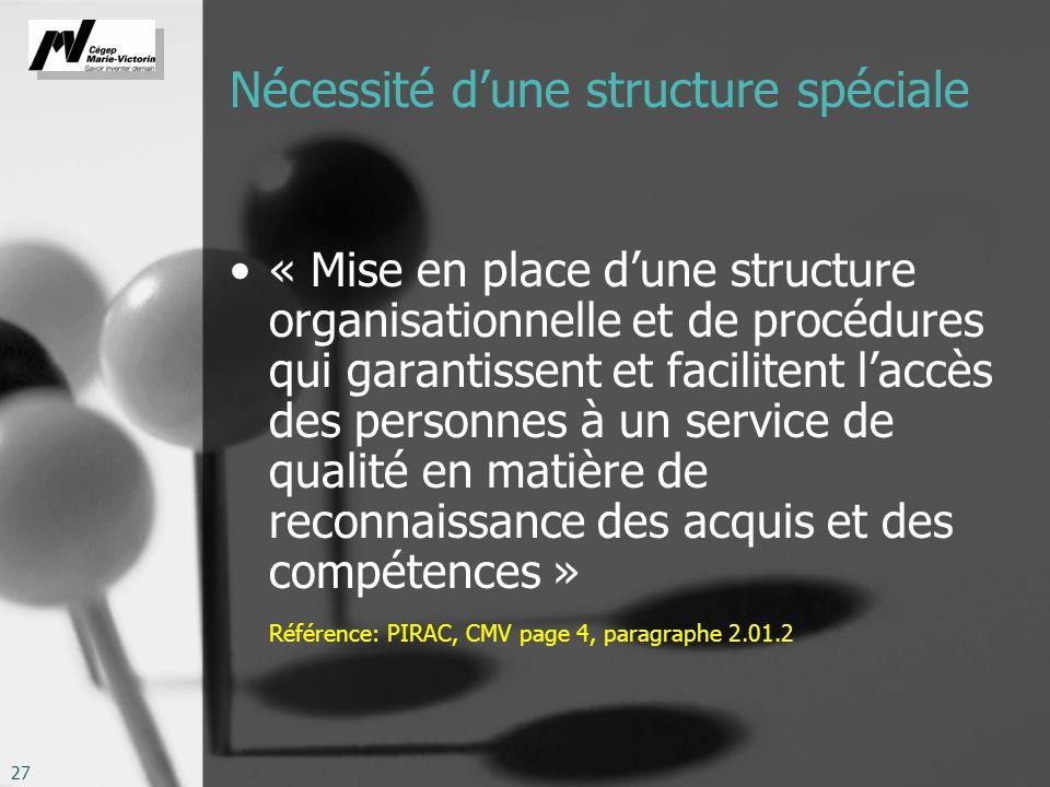 27 Nécessité dune structure spéciale « Mise en place dune structure organisationnelle et de procédures qui garantissent et facilitent laccès des personnes à un service de qualité en matière de reconnaissance des acquis et des compétences » Référence: PIRAC, CMV page 4, paragraphe 2.01.2