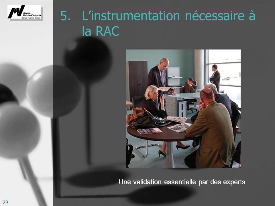 29 5. Linstrumentation nécessaire à la RAC Une validation essentielle par des experts.
