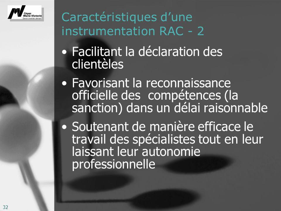 32 Caractéristiques dune instrumentation RAC - 2 Facilitant la déclaration des clientèles Favorisant la reconnaissance officielle des compétences (la sanction) dans un délai raisonnable Soutenant de manière efficace le travail des spécialistes tout en leur laissant leur autonomie professionnelle