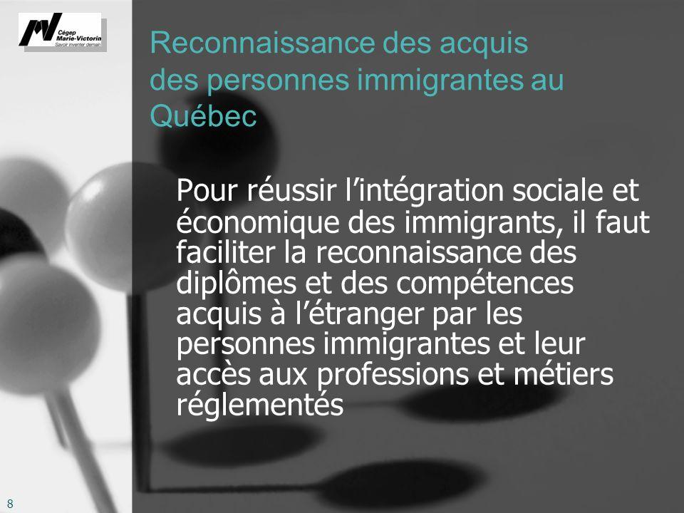 8 Reconnaissance des acquis des personnes immigrantes au Québec Pour réussir lintégration sociale et économique des immigrants, il faut faciliter la reconnaissance des diplômes et des compétences acquis à létranger par les personnes immigrantes et leur accès aux professions et métiers réglementés