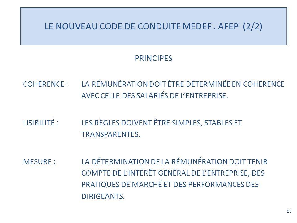 13 LE NOUVEAU CODE DE CONDUITE MEDEF. AFEP (2/2) PRINCIPES COHÉRENCE :LA RÉMUNÉRATION DOIT ÊTRE DÉTERMINÉE EN COHÉRENCE AVEC CELLE DES SALARIÉS DE LEN