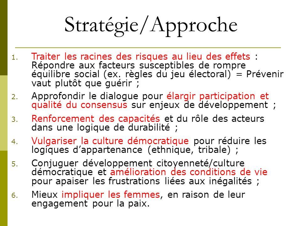 Stratégie/Approche 1. Traiter les racines des risques au lieu des effets : Répondre aux facteurs susceptibles de rompre équilibre social (ex. règles d