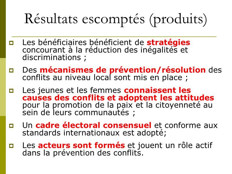 Résultats escomptés (produits) Les bénéficiaires bénéficient de stratégies concourant à la réduction des inégalités et discriminations ; Des mécanisme