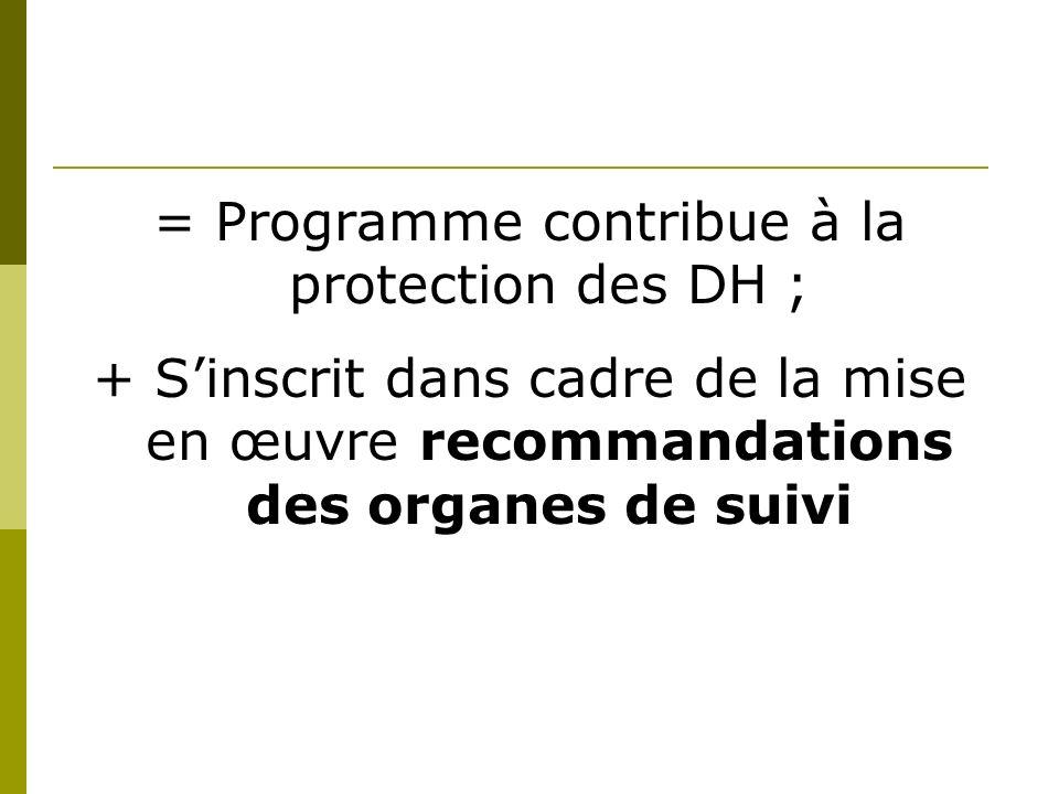 = Programme contribue à la protection des DH ; + Sinscrit dans cadre de la mise en œuvre recommandations des organes de suivi