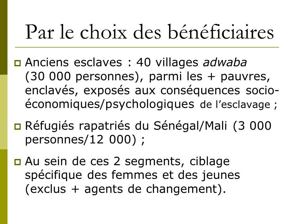 Par le choix des bénéficiaires Anciens esclaves : 40 villages adwaba (30 000 personnes), parmi les + pauvres, enclavés, exposés aux conséquences socio- économiques/psychologiques de lesclavage ; Réfugiés rapatriés du Sénégal/Mali (3 000 personnes/12 000) ; Au sein de ces 2 segments, ciblage spécifique des femmes et des jeunes (exclus + agents de changement).