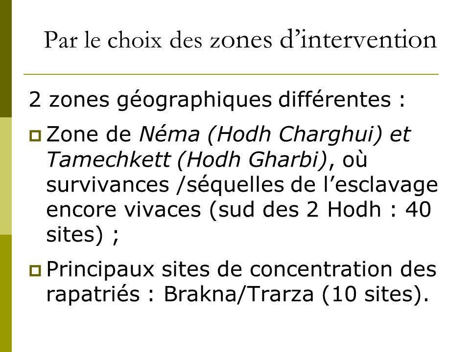 Par le choix des z ones dintervention 2 zones géographiques différentes : Zone de Néma (Hodh Charghui) et Tamechkett (Hodh Gharbi), où survivances /séquelles de lesclavage encore vivaces (sud des 2 Hodh : 40 sites) ; Principaux sites de concentration des rapatriés : Brakna/Trarza (10 sites).
