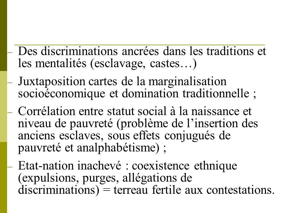 Des discriminations ancrées dans les traditions et les mentalités (esclavage, castes…) Juxtaposition cartes de la marginalisation socioéconomique et d