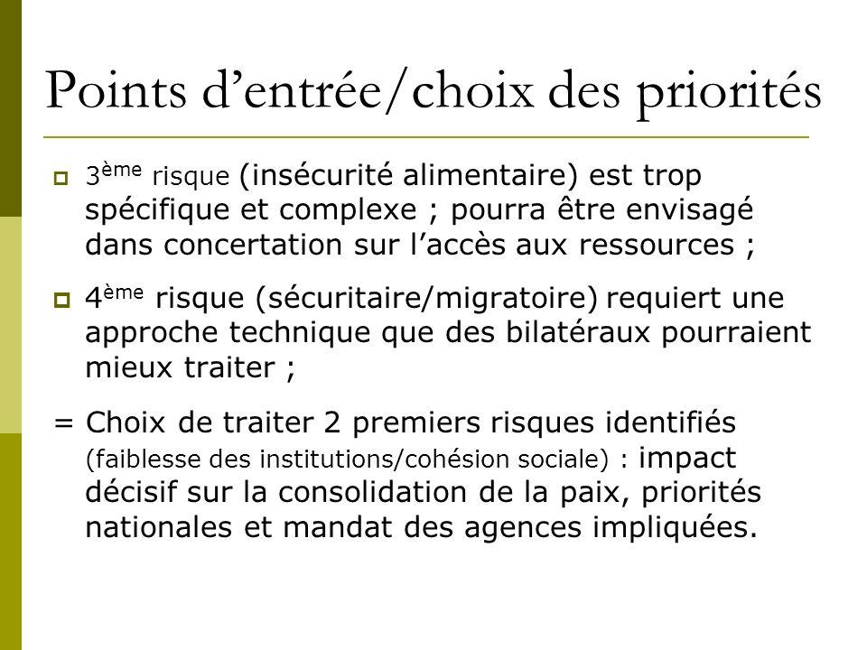 Points dentrée/choix des priorités 3 ème risque (insécurité alimentaire) est trop spécifique et complexe ; pourra être envisagé dans concertation sur
