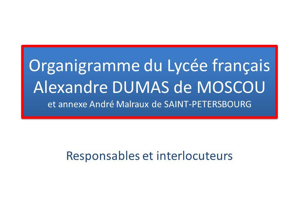 Organigramme du Lycée français Alexandre DUMAS de MOSCOU et annexe André Malraux de SAINT-PETERSBOURG Responsables et interlocuteurs