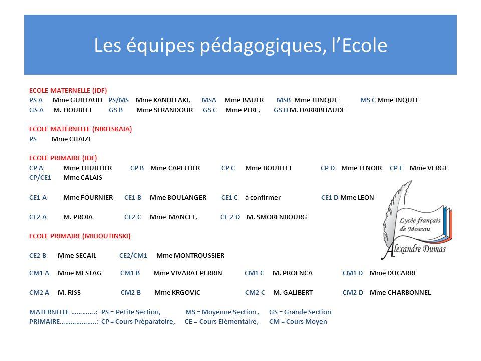 Les équipes pédagogiques, lEcole ECOLE MATERNELLE (IDF) PS A Mme GUILLAUD PS/MS Mme KANDELAKI, MSA Mme BAUER MSB Mme HINQUE MS C Mme INQUEL GS A M. DO