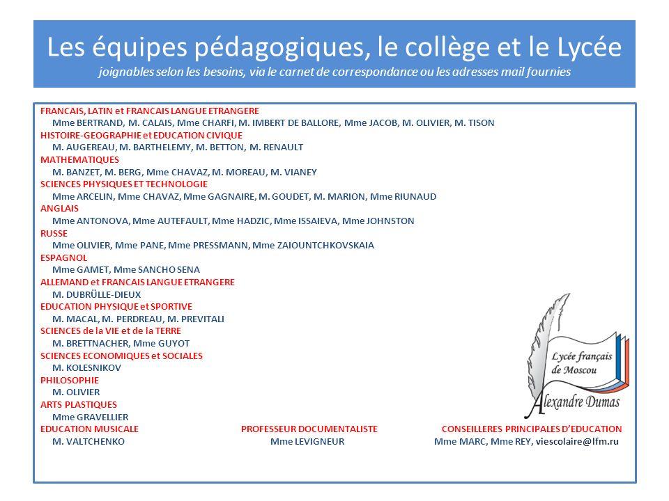 FRANCAIS, LATIN et FRANCAIS LANGUE ETRANGERE Mme BERTRAND, M. CALAIS, Mme CHARFI, M. IMBERT DE BALLORE, Mme JACOB, M. OLIVIER, M. TISON HISTOIRE-GEOGR