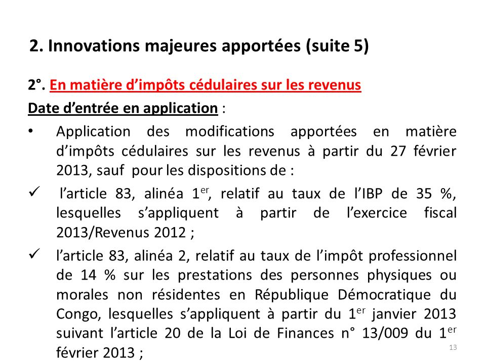 2.Innovations majeures apportées (suite 5) 2°.