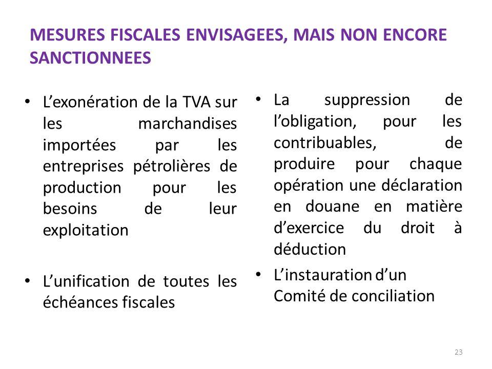 MESURES FISCALES ENVISAGEES, MAIS NON ENCORE SANCTIONNEES Lexonération de la TVA sur les marchandises importées par les entreprises pétrolières de pro