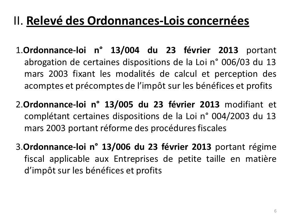II.Relevé des Ordonnances-Lois concernées (Suite) 4.