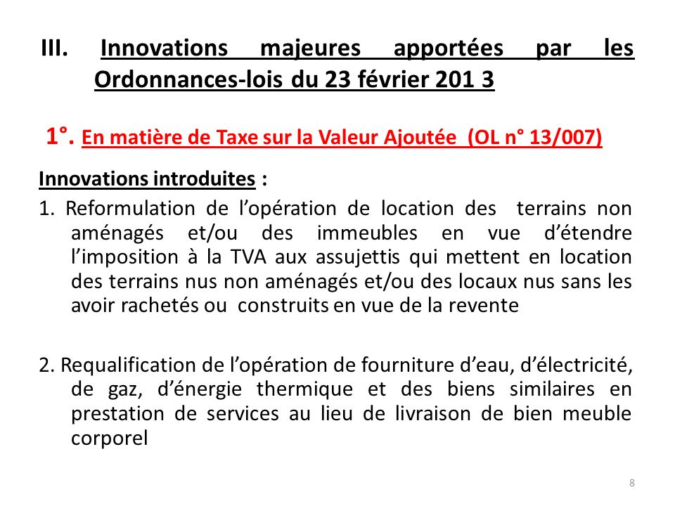 2.Innovations majeures apportées (suite 11) 3.