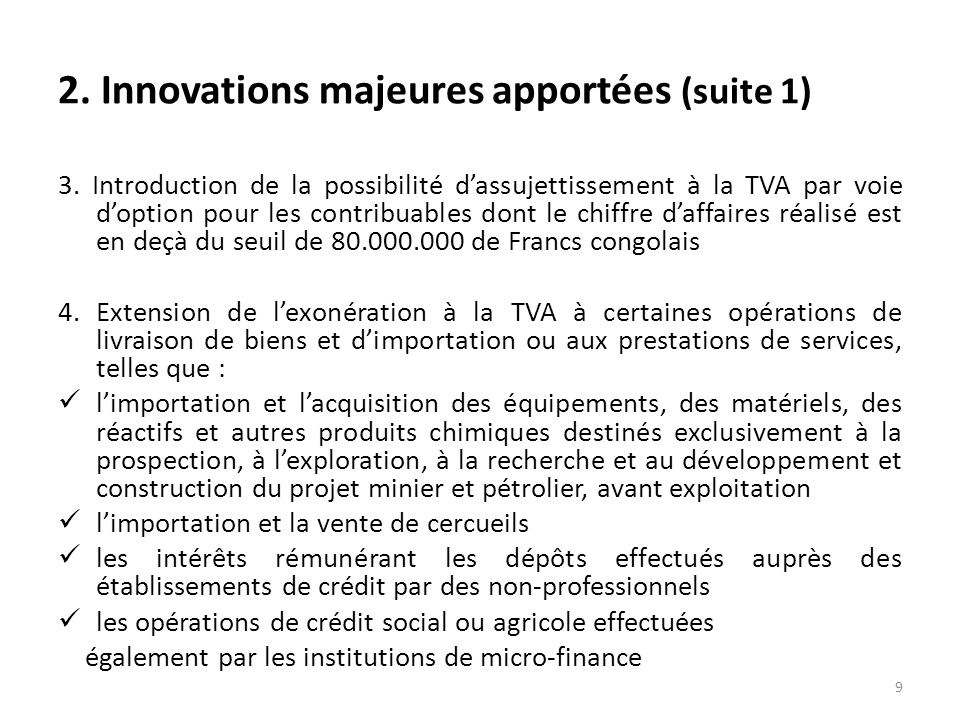 2.Innovations majeures apportées (suite 12) 6.