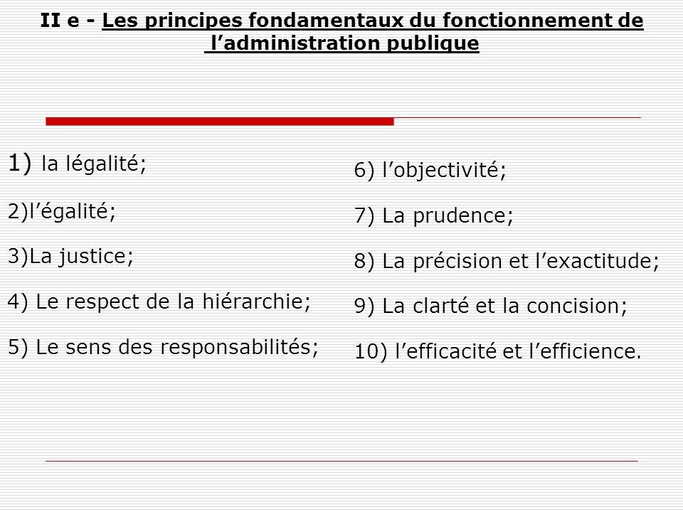 II e - Les principes fondamentaux du fonctionnement de ladministration publique 1) la légalité; 2)légalité; 3)La justice; 4) Le respect de la hiérarch